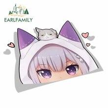 EARLFAMILY Cartoon Car Sticker for Emilia Re Zero Peeker Big Head Anime Vinyl JDM Window Trunk Laptop Wall Decal Car Accessories