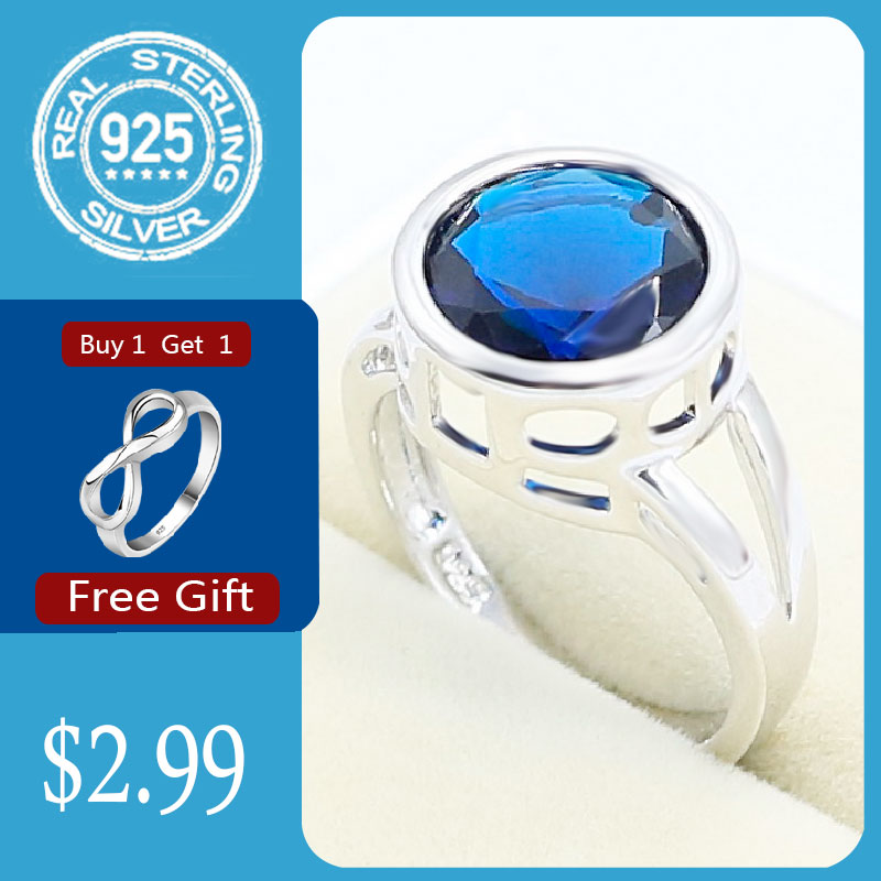Round Royal Blue Sapphire 925 Silver Ring For Women Party Jewelry Free Gift
