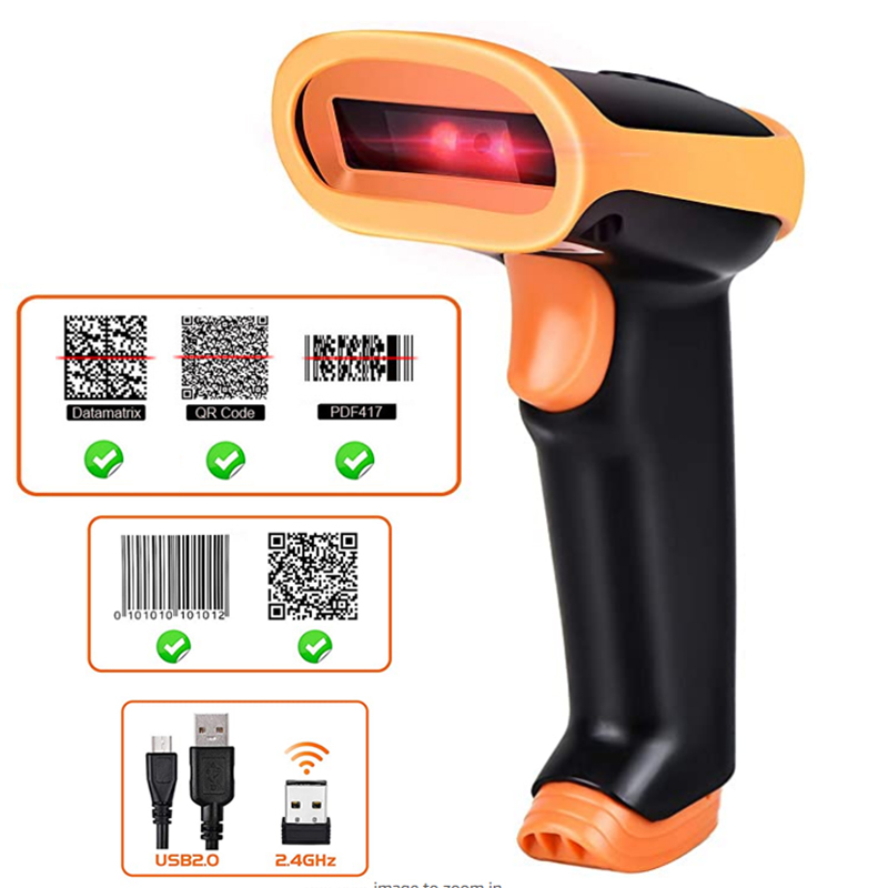 Radall Wireless Barcode Scanner Kabel Bar Code Scanner Scan Otomatis Handheld 1D/2D QR Code Reader untuk Persediaan Pos terminal