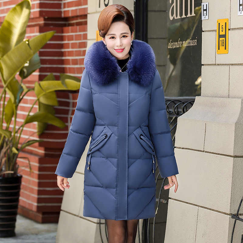 Kurtka zimowa damska matka długa odzież damska w średnim wieku w płaszczu zimowym gruba kurtka podszyta bawełną bogata