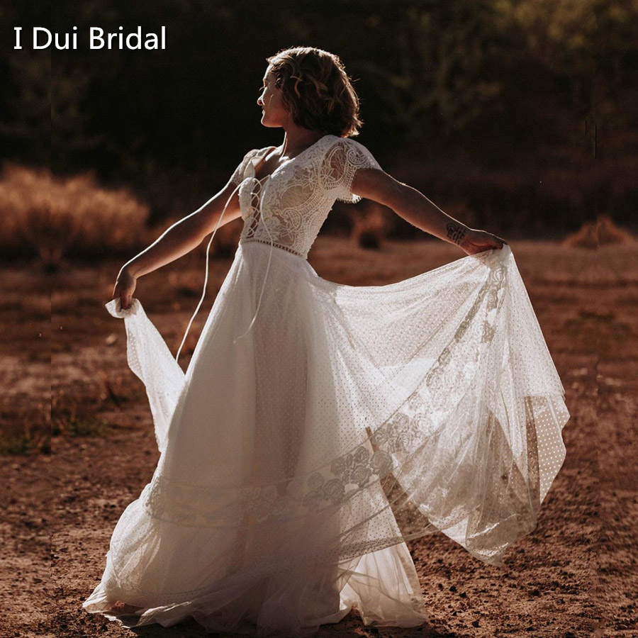 Dot Tulle Boho Wedding Dress With Short Sleeve String Tie Neckline Bridal Gown New Style Factory Real Photo