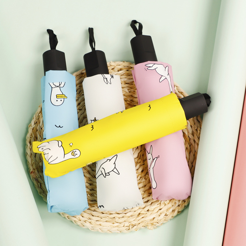 Rain Or Shine Umbrella Hipster Rain Or Shine Dual Purpose Umbrella Meng Cute Duck Vinyl Folding Parasol Sun-resistant UV-Protect