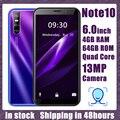 Смартфон Note10, 6,0 дюйма, 4 + 64 ГБ, 4 ядра, 13 МП, android, GPS, Wi-Fi