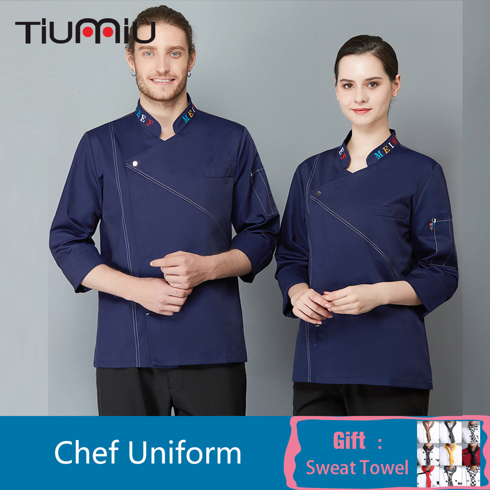 Long Sleeve Chef Uniform Collar Embroidery Chef Coat Catering Food Service Cafe Bakery Barber Waiter Workwear Cooking Clothes