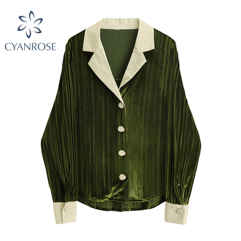 Vintage French Shirt Women Long Sleeve Lapel Printed Loose Office Lady Tops 2021 Spring Autumn Casual Elegant Blouse Female 1