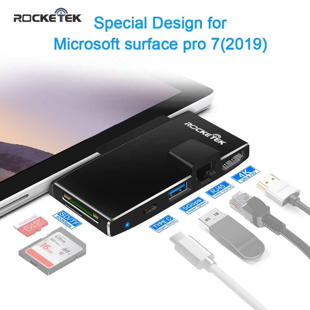 Rocketek usb 3.0 HUB card reader 4K HDMI 1000Mbps Gigabit Ethernet adapter SD/TF micro SD for Microsoft Surface Pro 7