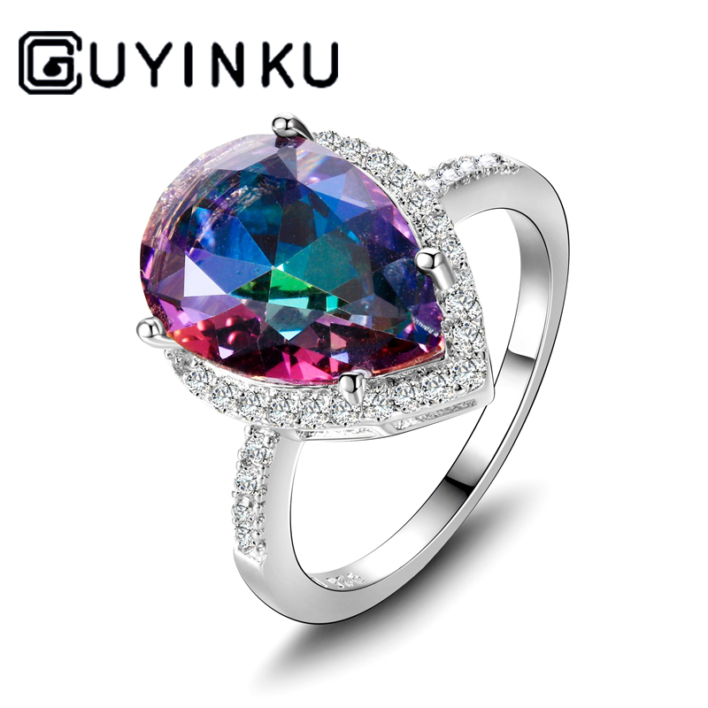 Ladies Jewelry S925 Silver Ring Mystical Rainbow Topaz Dripping Ring Wedding Jewelry Party Valentine's Day Gift