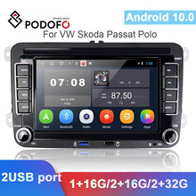 Podofo 2 Din Android Car GPS Multimedia Player Navigation Autoradio For VW Volkswagen Skoda Polo Golf Passat b6 b7 Tiguan Stereo
