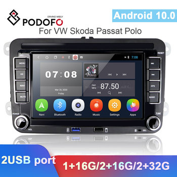 Podofo 2 Din Android автомобильный GPS мультимедийный плеер навигация Авторадио для VW Volkswagen Skoda Polo Golf Passat b6 b7 Tiguan стерео