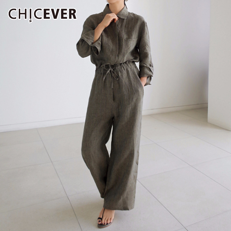 CHICEVER Linen Jumpsuit For Women Lapel Long Sleeve High Waist Lace Up Wide Leg Pants Female Spring Casual Fashion 2020 New