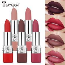 TEAYASON 12 kolorów matowe szminki wodoodporne matowe szminki pomadki do ust kosmetyczne łatwe w użyciu matowe szminki do makijażu TSLM2 tanie tanio Jedna jednostka CN (pochodzenie) Wodoodporna wodoodporny