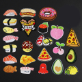 Iron On Cute Fruit Food Pizza Patches For Girl Clothes Appliques Embroidered Avocado Egg Patch For Backpack DIY Accessories