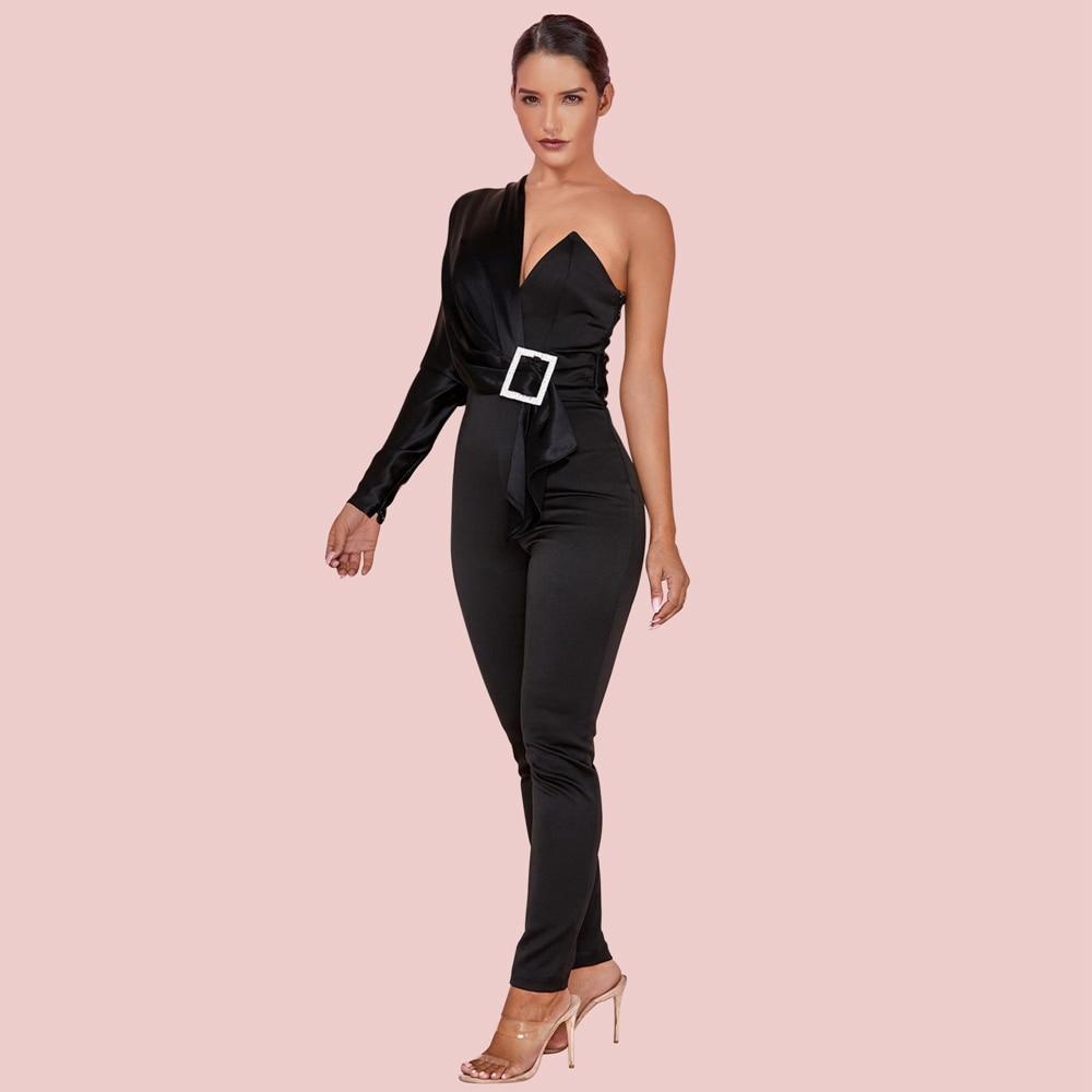 Ocstrade Black One Shoulder Long Sleeve Maxi Metal Ornamental Buckle Asymmetrical Bodycon Jumpsuits HI1109-Black