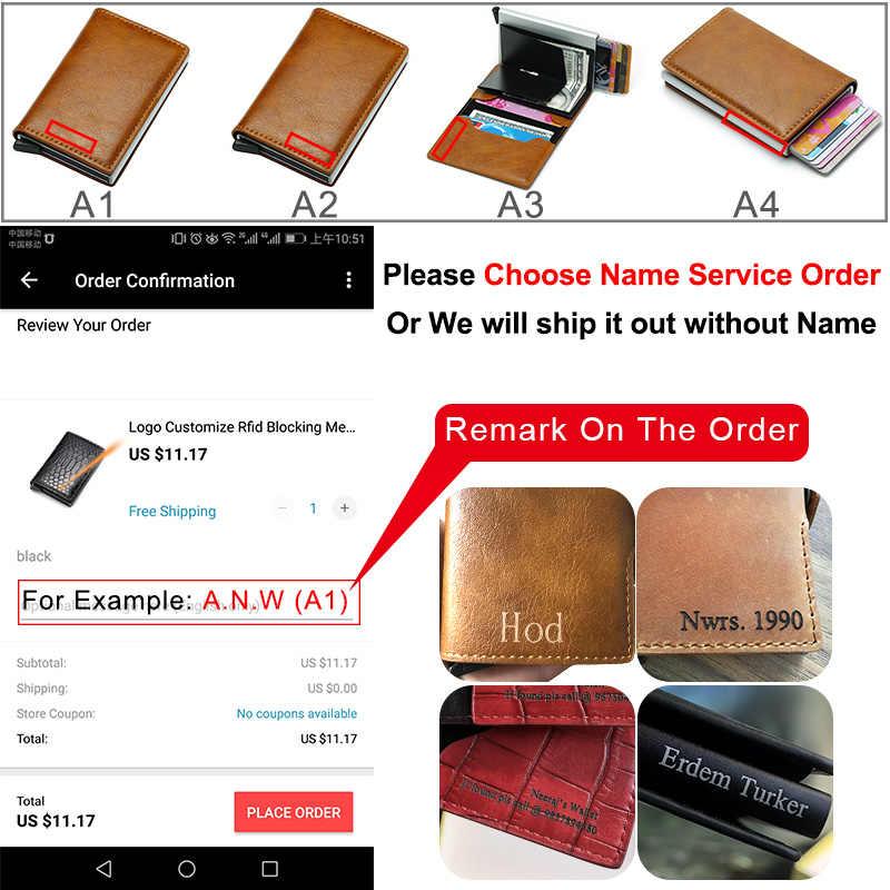 Aangepaste Carbon Fiber Card Portefeuilles Mannen Merk Rfid Black Magic Trifold Leather Slim Mini Laser Portemonnee Geld Bag Man Purse 2020