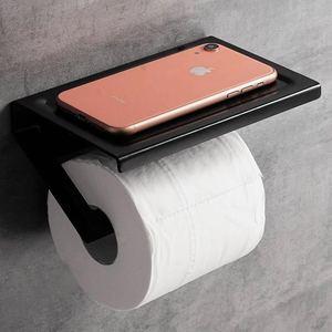 Image 5 - Pintura preta dupla suporte de papel fixado na parede acessórios do banheiro telefone rack prateleira do banheiro espaço material alumínio