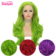 Tinsel Wig Lace-Front Imstyle Purple Long Synthetic Green Hair-Party-Wig Natural Women