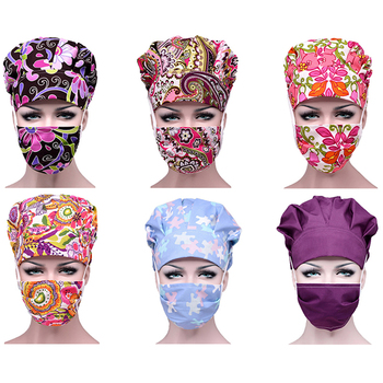 Women Printed Hats+Mask Sets Hospital Surgical Nursing Scrubs Caps Doctor Pharmacy Dentistry Caps Anti-dust Sun Protection Mask
