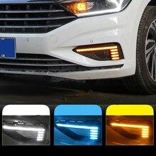 цена на 1 Pair Dynamic Yellow Turn Signal Relay 12V Car DRL Lamp LED Daytime Running Light For Volkswagen VW Jetta Sagitar 2019