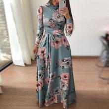 New Womens Boho Floral Long Sleeve Long Maxi Dress Casual Party Cocktail Dress(China)