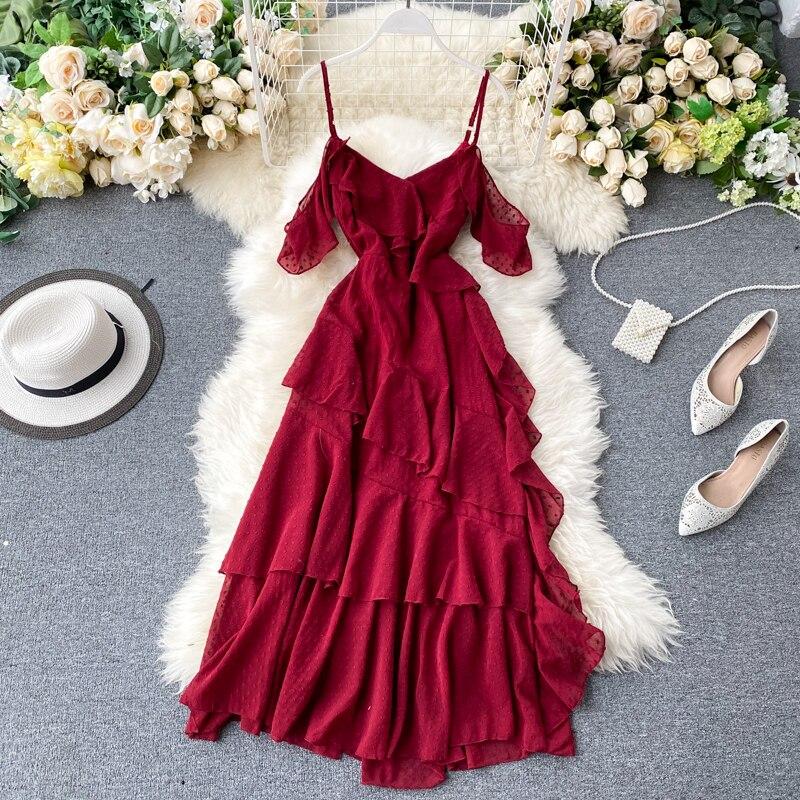 2020 новое платье в стиле каникул сказочная фея супер сказочный лес сладкий лист лотоса без бретелек ремень шифоновое платье|Платья|   | АлиЭкспресс - Платья