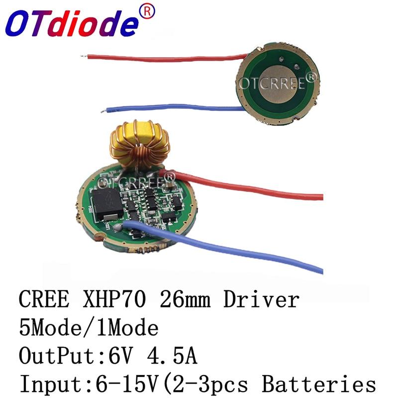 Cree XLamp XHP70 XHP70.2 6V LED Driver 26MM entrada DC6V-15V salida 6V 4500mA para XHP70 XHP70.2 LED linterna bombilla Controlador cree XHP70 6v 5 modo dia26mm input7-18v output6V 4A controlador de linterna Led de corriente constante