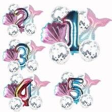 Kleine meerjungfrau party dekoration meerjungfrau schwanz anzahl ballons für mädchen geburtstag party 0-9 anzahl ballons baby dusche mädchen ballon