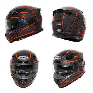 Image 2 - SOMAN ניאון קו סיבי פחמן קסדה מגניב מלא פנים ECE אופנוע קסדות מגן להעיף את Mens מירוץ Bluetooth Casco Moto