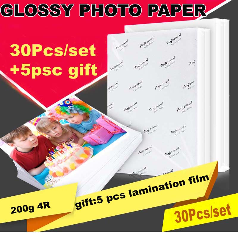 30 Sheets Glossy 4R 6inch 4x6 Photo Paper For Photographic Paper Printing For Inkjet Printers Office Supplies