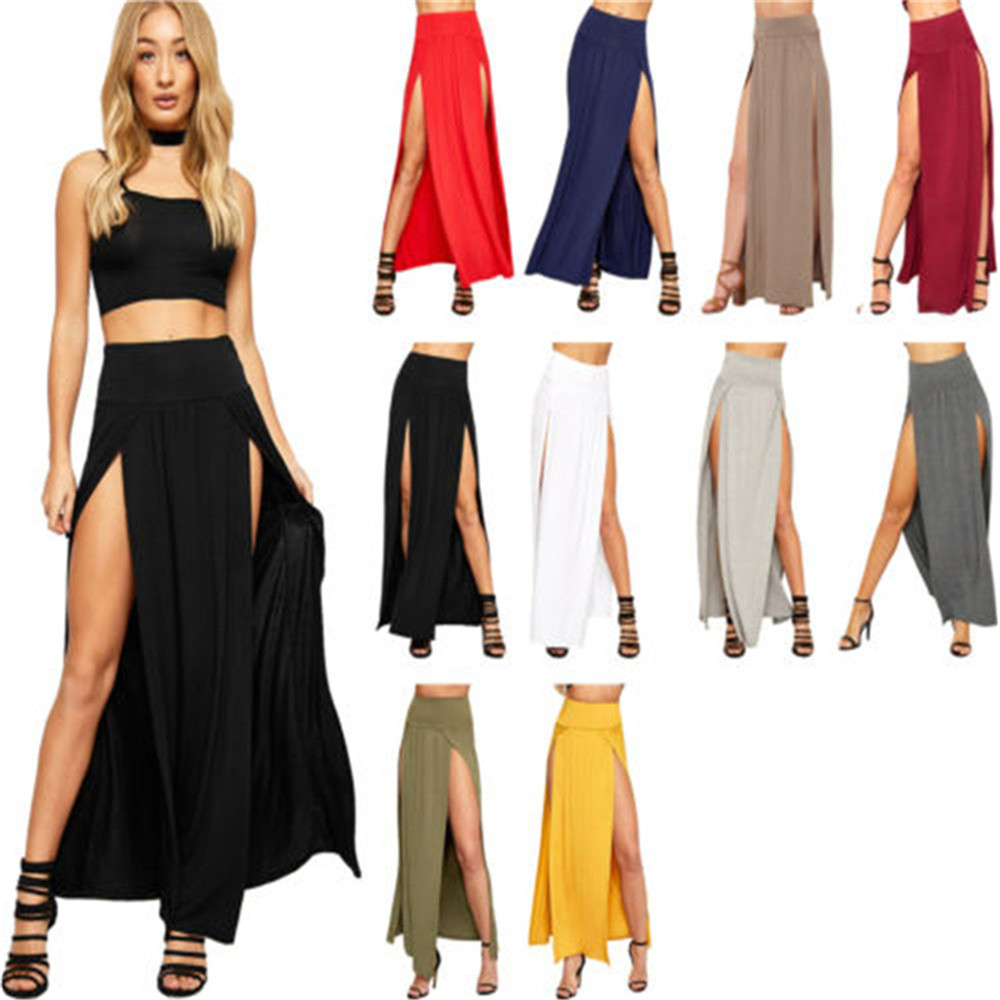 2020 New Arrival High Waisted Sexy Womens Double Slits Summer Solid Long Maxi Skirt Wholesale 51
