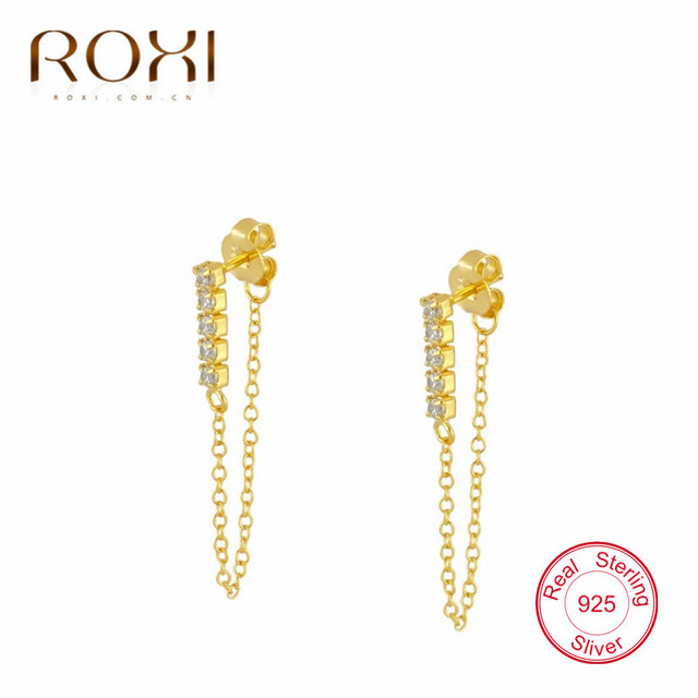 ROXI 925 Solid Sterling Silver CZ Bar Tassel Charm Stud Earrings for Women Jewelry Party Accessories.jpg 640x640 - ROXI 925 Solid Sterling Silver CZ Bar Tassel Charm Stud Earrings for Women Jewelry Party Accessories pendientes Brincos 1pcs