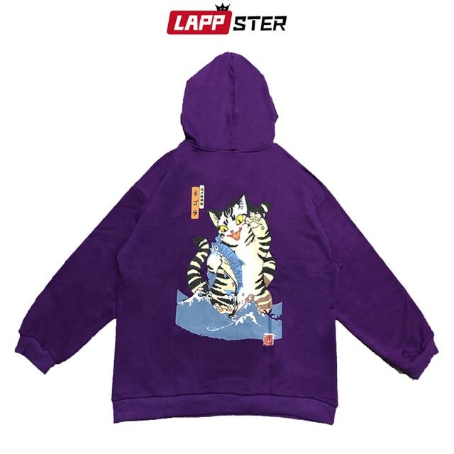 LAPPSTER Men Streetwear Funny Cat Hooded Hoodies 2019 Mens Hip Hop Harajuku Sweatshirts Male Korean Fashions Black Hoodie INS 8