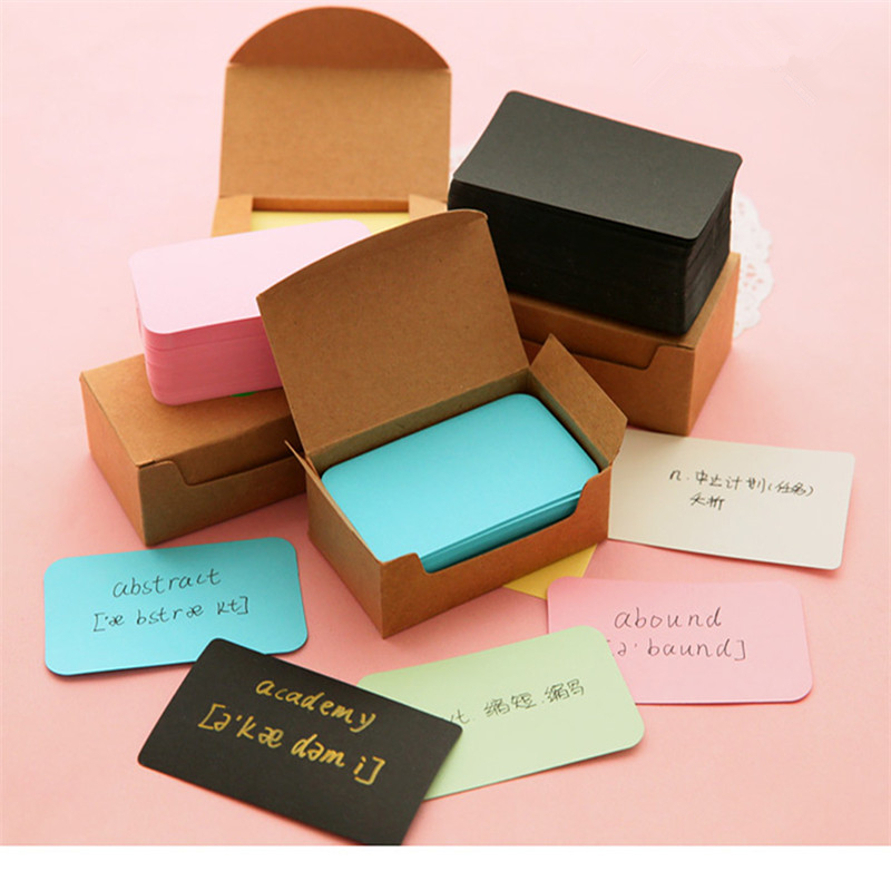 100 Pcs Vintage Blank Card DIY Greeting Cards Graffiti Word Cards Wedding Party Gift Thick Kraft Paper Postcards