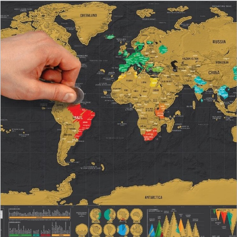 Scratch map Small mini black Creative luxury world edition Black gold travel map image