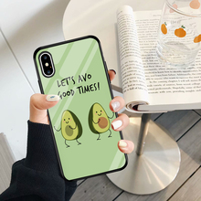 Jamular Cartoon avocado dancing pattern glass case protective case for iphone 6 6s 7 8 Plus X XR XS MAX cute phone back cover airwalks cartoon giraffe pattern protective pc back case for iphone 5 deep pink blue white
