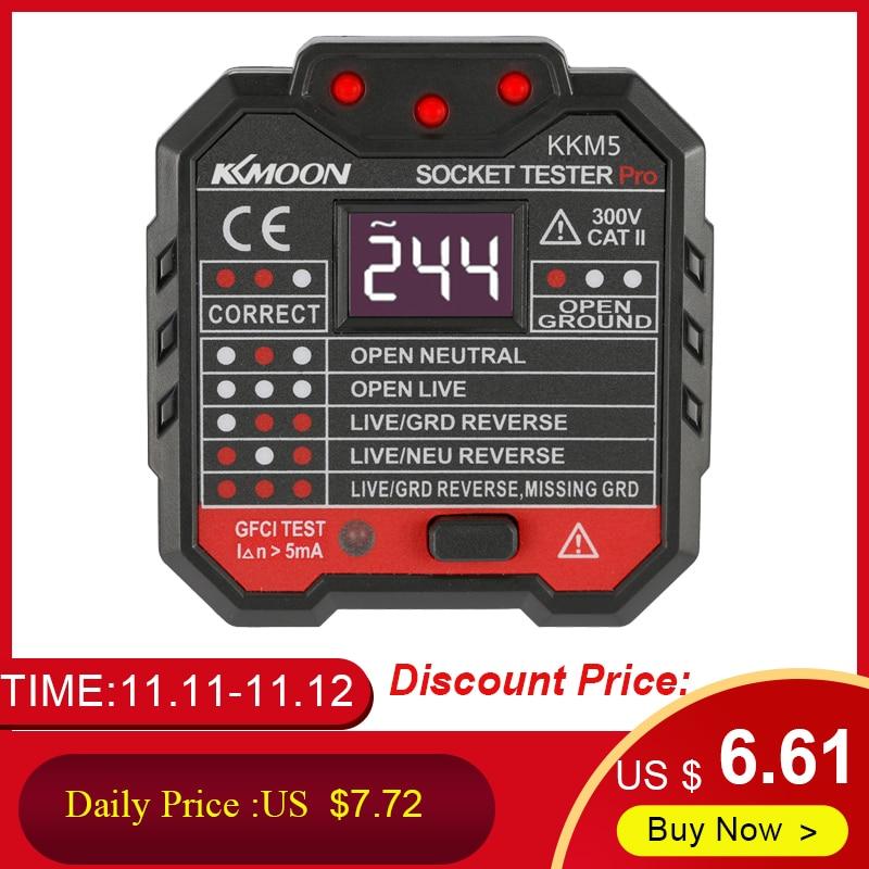 30mA Socket Tester Digital Display Socket Detector Portable Circuit Polarity Voltage Tester Wall Plug Breaker Finder RCD Test