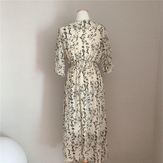 Gaganight Women Retro Floral Dress Cross V Neck Wooden Ear Slim Long Vestido Summer Elegant Chiffon Short Sleeve Dresses Femme 6