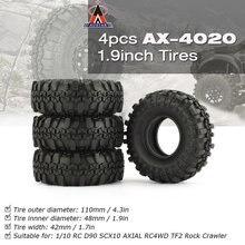 4 Pcs AUSTAR AX-4020 1.9 Inch 110mm Rubber 1/10 Rock Crawler Tires Tyre Part for D90 SCX10 AXIAL RC4WD TF2 RC Car Parts HOT