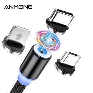 ANMONE Magnetic Micro USB Cable Magnet Plug Type C Charge 3 In 1 Cord for iPhone Huawei Samsung XiaoMi Magnet Charge Wire