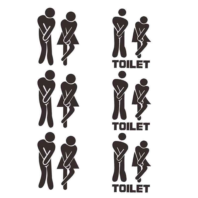 Toilet Door Sign Stikers DIY Toilet Wall Stickers Mall Restaurant Coffee Restroom Stickers