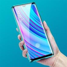 Caso de adsorção magnética para realme x2 pro dupla face vidro temperado completa proteger caso realme x lite q x2 caso de telefone luxo