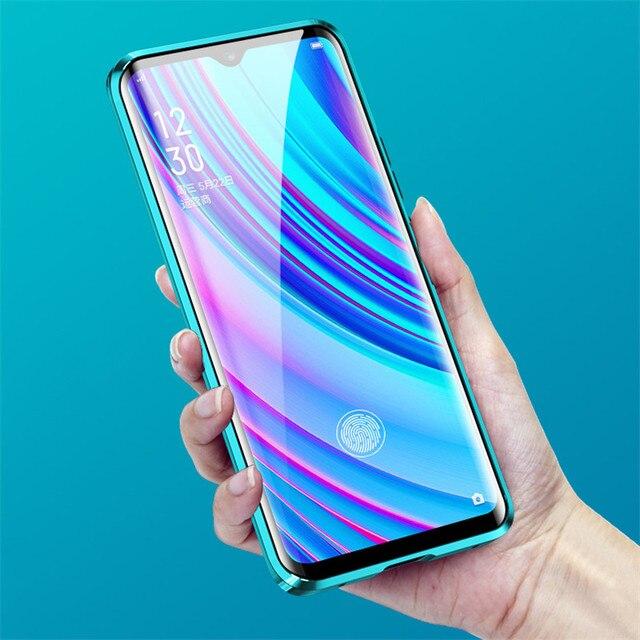 磁気吸着ケース Realme ため X2 プロ両面強化ガラスフル保護ケース Realme X ライト Q X2 高級電話ケース