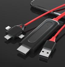 Micro USB Loại C IOS HDTV Cáp Gương Màn Hình Chuyển Đổi Liên Kết Cho IPhone 11 Pro Max 8 IPad Samsung S8 s9 S20 + Điện Thoại Android Với Tivi