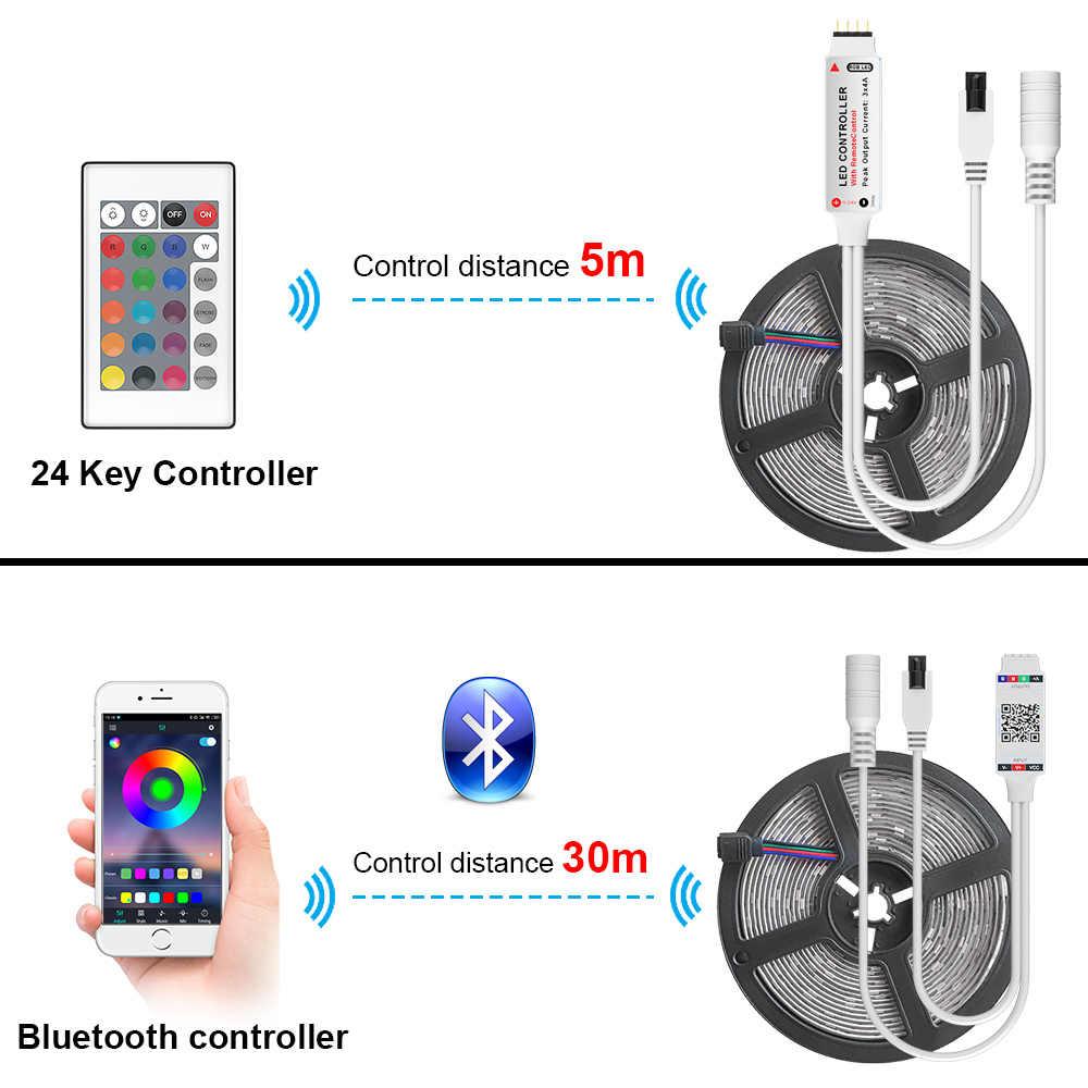 Tira de luz de led bluetooth, smd 2835 dc12v à prova d'água 5m 10m fita de diodo flexível com controle remoto bluetooth