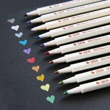 10 cores sta fineliner metálico marcador caneta forro feltro-ponta canetas lista de escova diário para desenho escola artigos de papelaria arte suprimentos