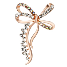 Bowknot Brooch Pin Rhinestones Brooches for Women Rose Gold Plated Gift Metal Bow Badges on Backpack