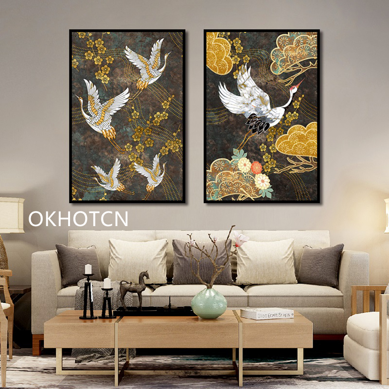 Chinese Ancient Style Animals Golden Flowers Crane Canvas Decorative Painting Art Abstract Poster Wall Picture Living Room Decor