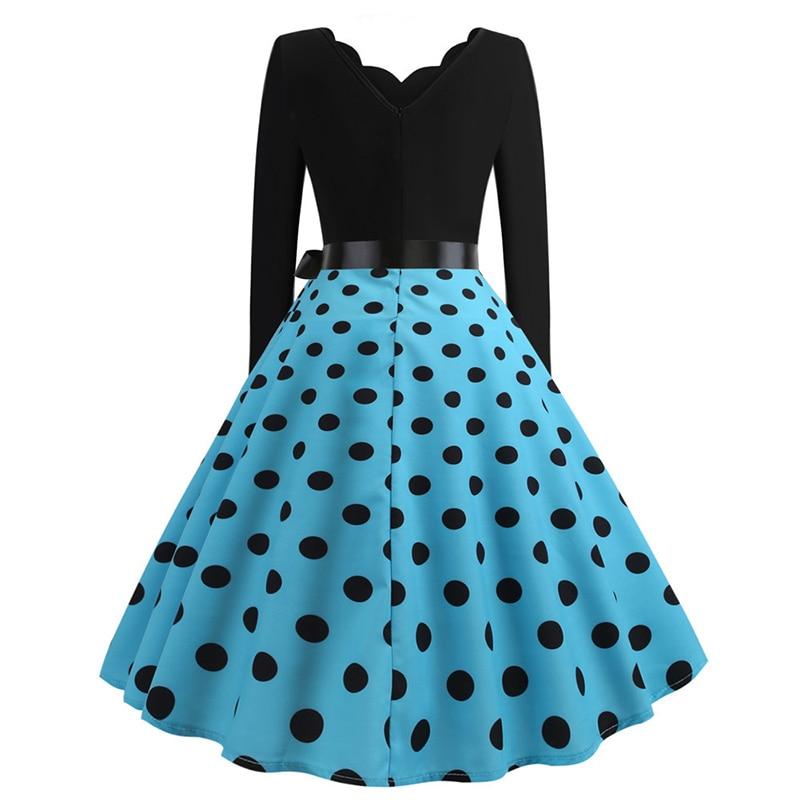 Women Long Sleeve Winter Vintage Dresses Sexy Black Music Note Print V-neck Rockabilly Pin up Party Dress Vestidos Plus size 547