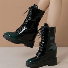 Женские туфли лодочки из натуральной кожи на платформе и высоком