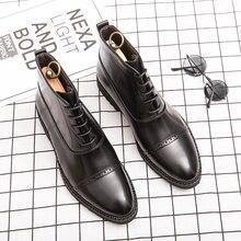 Обувь; Мужская официальная обувь; Мужские Винтажные кожаные модельные туфли; оксфорды на шнуровке; обувь с перфорацией типа «броги»; мужская деловая обувь до щиколотки размера плюс
