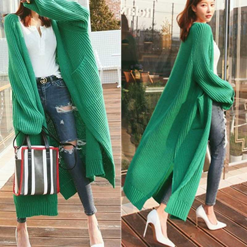 Women Lazy Wind Loose Cardigan Sweater Coat Girls Wool Overknee Thickening Knitting Loose Coat Winter Warm Long Sleeve Jacket